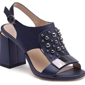 Navy Blue Sandal with Silver Accents